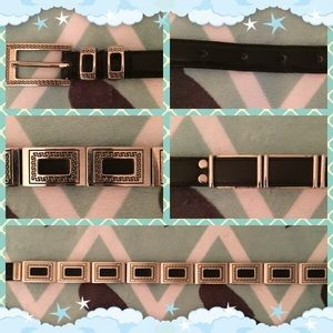 Accessories - Black, Leather Belt with Silver Accents Sz Sm
